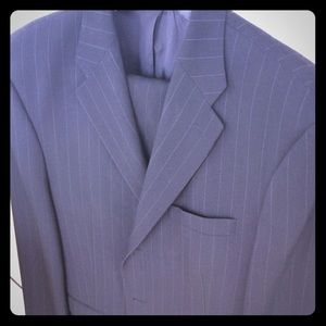 DKNY dark suit with subtle pin strip
